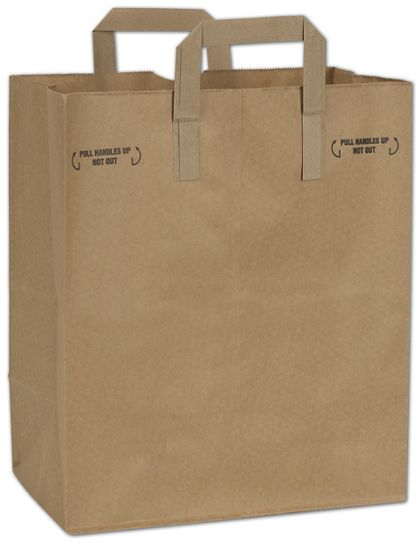 Natural Kraft Grocery Bags with Handles Down, 12 x 7 x 14""