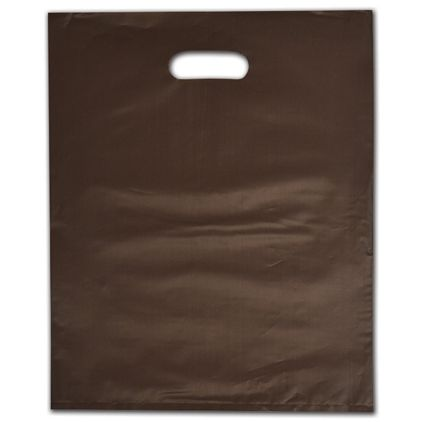 """Espresso Frosted Die-Cut Merchandise Bags, 12 x 15"""""""