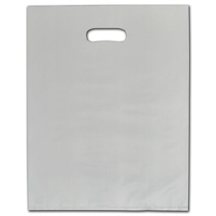 """Ivory Frosted Die-Cut Merchandise Bags, 12 x 15"""""""