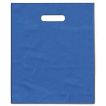 """Ocean Blue Frosted Die-Cut Merchandise Bags, 12 x 15"""""""