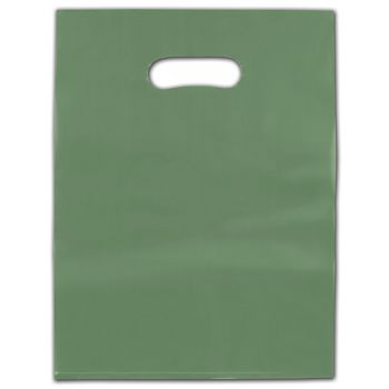 """Sage Frosted Die-Cut Merchandise Bags, 12 x 15"""""""