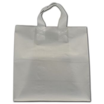 """Clear Frosted Flex-Loop Shoppers, 13 x 7 x 13"""""""