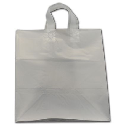 """Clear Frosted Flex-Loop Shoppers, 14 x 10 x 15"""""""