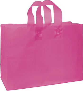 Cerise Frosted High Density Shoppers, 16 x 6 x 12
