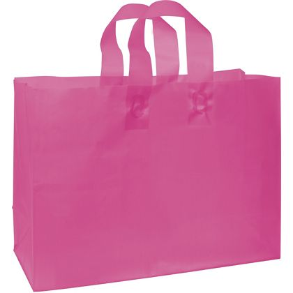 Cerise Frosted High Density Shoppers, 16 x 6 x 12""
