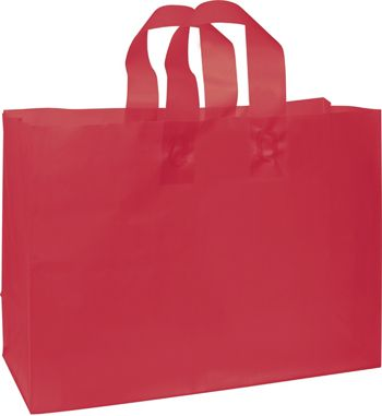 Red Frosted High Density Shoppers, 16 x 6 x 12