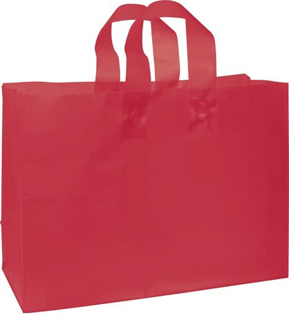 Red Frosted High Density Shoppers, 16 x 6 x 12""