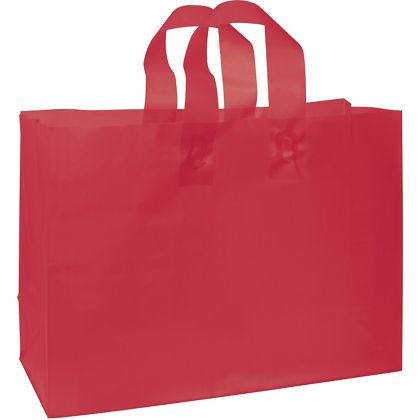 """Red Frosted High Density Shoppers, 16 x 6 x 12"""""""