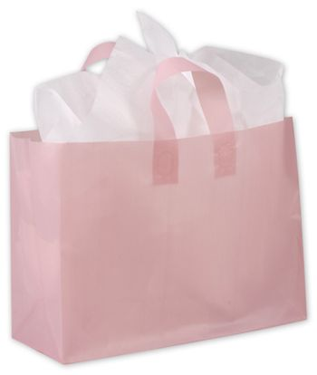 Dusty Rose Frosted High Density Shoppers, 16 x 6 x 12