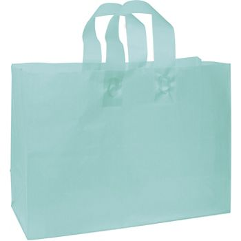 Turquoise Frosted High Density Shoppers, 16 x 6 x 12