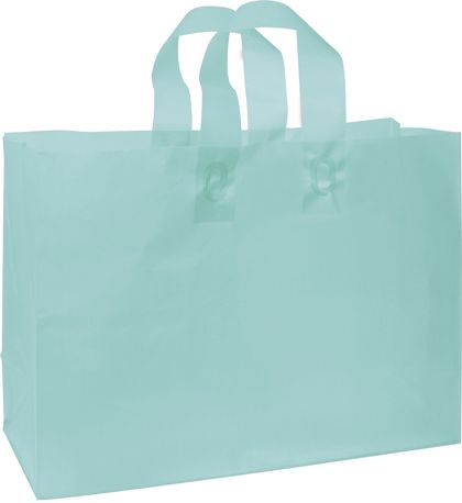 Turquoise Frosted High Density Shoppers, 16 x 6 x 12""