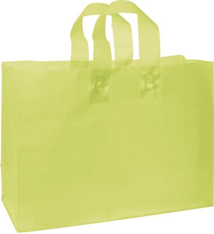 Lime Green Frosted High Density Shoppers, 16 x 6 x 12""