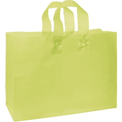 Lime Green Frosted High Density Shoppers, 16 x 6 x 12