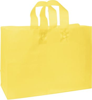 Yellow Frosted High Density Shoppers, 16 x 6 x 12