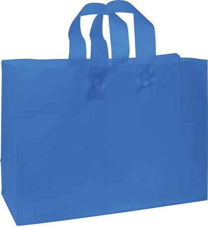 Blue Frosted High Density Shoppers, 16 x 6 x 12""
