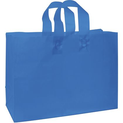 Blue Frosted High Density Shoppers, 16 x 6 x 12
