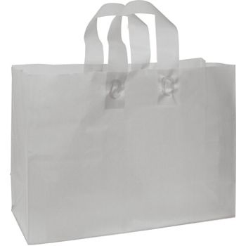 Silver Frosted High Density Shoppers, 16 x 6 x 12