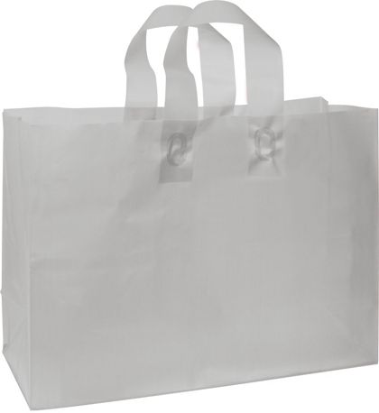 Silver Frosted High Density Shoppers, 16 x 6 x 12""