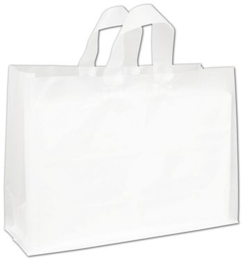 Clear Frosted High Density Flex Loop Shoppers, 16 x 6 x 12