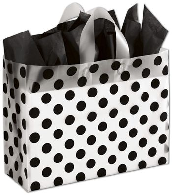 Black Dots Clear-Frosted Shoppers, 16 x 6 x 12