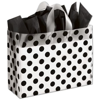 Black Dots Clear-Frosted Shoppers, 16 x 6 x 12""