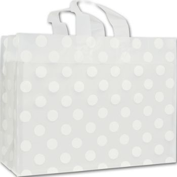 White Dots Clear-Frosted Flex Loop Shoppers, 16 x 6 x 12