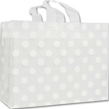 """White Dots Clear-Frosted Flex Loop Shoppers, 16 x 6 x 12"""""""
