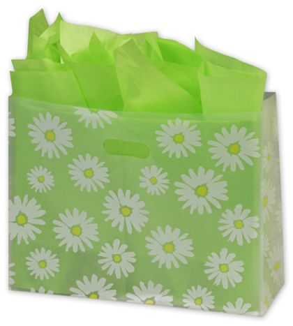 Daisy Die Cut Clear Frosted Shoppers, 16 x 6 x 12""