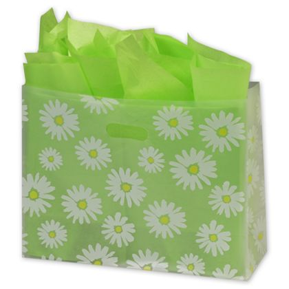 Daisy Die Cut Clear Frosted Shoppers, 16 x 6 x 12