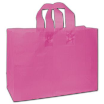 """Hot Pink Frosted Flex-Loop Shoppers, 16 x 6 x 12"""""""