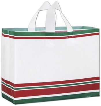 Holiday Style Plastic Shoppers, 16 x 6 x 12