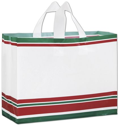 Holiday Style Plastic Shoppers, 16 x 6 x 12""