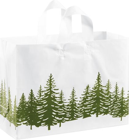 Icy Evergreen Shoppers, 16 x 6 x 12""