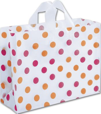 Pink & Orange Polka Dot Clear-Frosted Vogue Shoppers