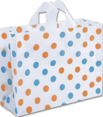 Orange & Turquoise Polka Dot Clear-Frosted Vogue Shoppers
