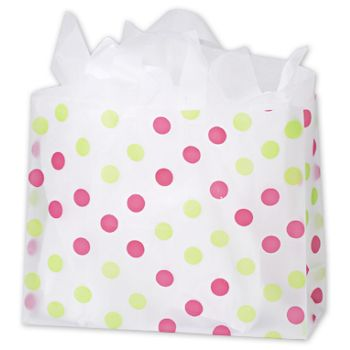 Pink & Green Dots Clear-Frosted Flex Loop Shoppers