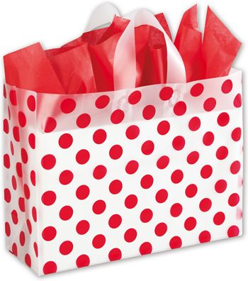 Red Dots Clear-Frosted Shoppers, 16 x 6 x 12