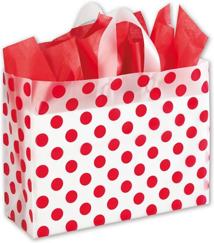 """Red Dots Clear-Frosted Shoppers, 16 x 6 x 12"""""""