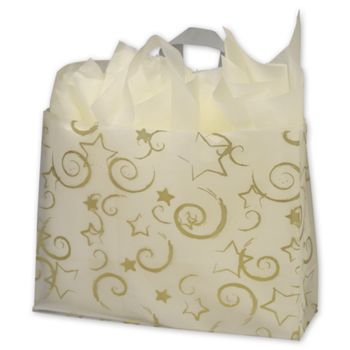 Stars Clear-Frosted Flex Loop Shoppers, 16 x 6 x 12""