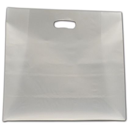 """Clear Frosted Die-Cut Shoppers, 16 x 6 x 15"""""""