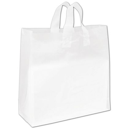 Clear Frosted High Density Flex Loop Shoppers, 16 x 6 x 16