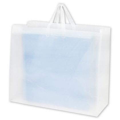 Clear Frosted High Density Flex Loop Shoppers, 24x9x20""