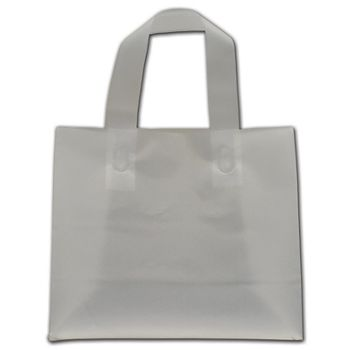 """Clear Frosted Economy Flex-Loop Shoppers, 8 x 4 x 7"""""""