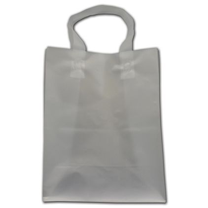 """Clear Frosted Economy Flex-Loop Shoppers, 8 x 5 x 10"""""""