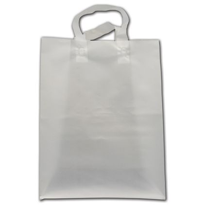 """Clear Frosted Economy Flex-Loop Shoppers, 10 x 5 x 13"""""""