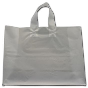 """Clear Frosted Economy Flex-Loop Shoppers, 16 x 6 x 12"""""""