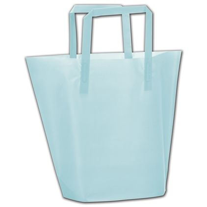 """Aqua Frosted High-Density Trapezoid Shoppers, 13x10""""+3"""" BG"""