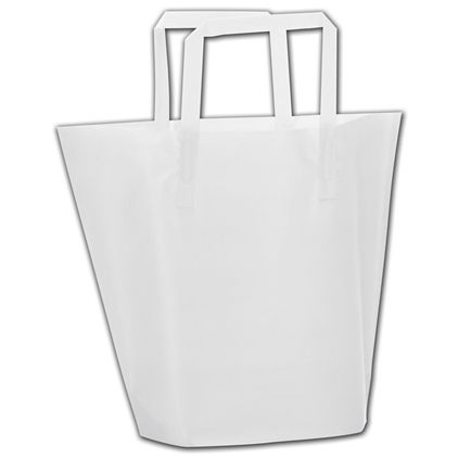 """Clear Frosted Trapezoid Shoppers, 13x10""""+3"""" Bottom Gusset"""