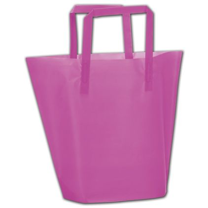 """Hot Pink Frosted High-Density Trapezoid Shoppers 13x10""""+3"""""""