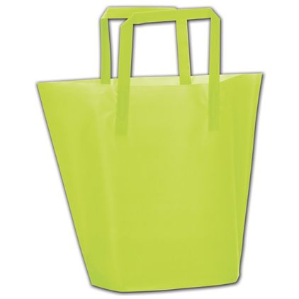 """Lime Frosted High-Density Trapezoid Shoppers, 13x10""""+3"""" BG"""